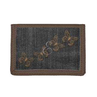 Cute Gold ButterflIies Black Denim Wallet