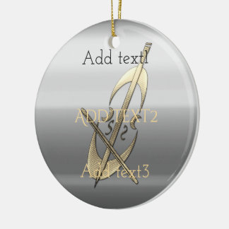 Cute Gold Cello Music Musician Fan Ceramic Ornament