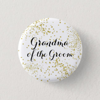 Cute Gold Glitter Grandma of the Groom Button