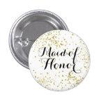 Cute Gold Glitter Maid of Honour Button