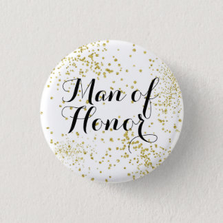 Cute Gold Glitter Man of Honour 1 Inch Round Button