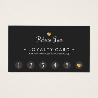 Cute Gold Heart 6 Punch Customer Loyalty Card