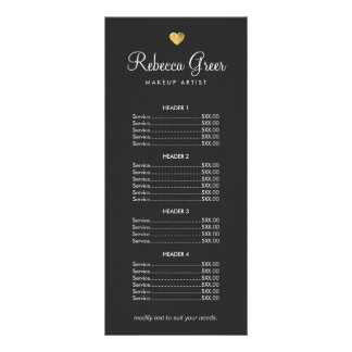 Cute Gold Heart Black Beauty Salon Price List Menu Rack Cards