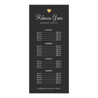Cute Gold Heart Black Beauty Salon Price List Menu Rack Cards