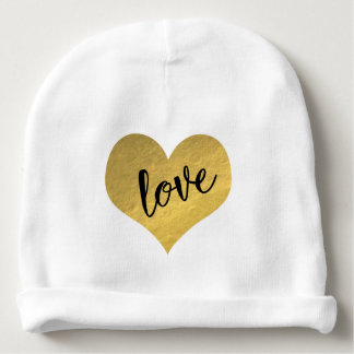 Cute Gold Heart With Love Typography Baby Beanie