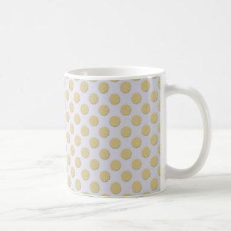 Cute Gold on Pale Silver Polka Dots Coffee Mug