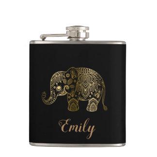 Cute Gold Paisley Elephant Hip Flask