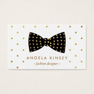 Cute Gold Polka Dots Ribbon Bow Business Card
