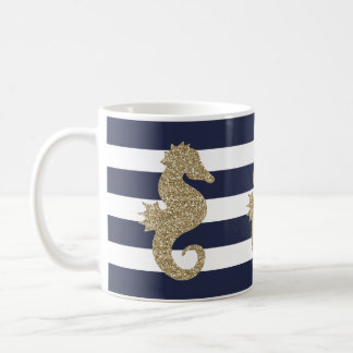 Cute Gold Seahorse on Navy/White Stripe Coffee Mug