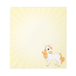 Cute Golden Cartoon Unicorn Small Notepads