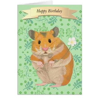 Cute Golden Hamster Holding a Flower Card