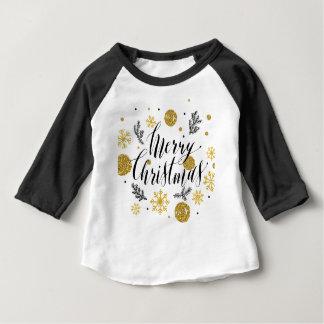 Cute Golden hand written Merry Christmas glitters Baby T-Shirt