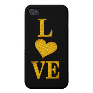 cute golden love heart iphone7 cover design iPhone 4 cover