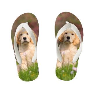 Cute Golden Retriever Dog Puppy Animal Photo  Kids Kid's Flip Flops