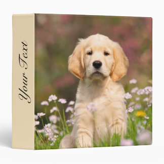 Cute Golden Retriever Dog Puppy Face Animal Photo 3 Ring Binder