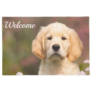 Cute Golden Retriever Dog Puppy Face Photo Welcome Doormat