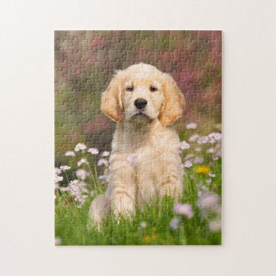 Cute Golden Retriever Dog Puppy Game 11x14 Jigsaw Puzzle