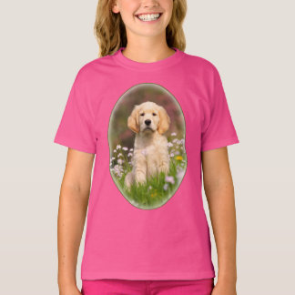 Cute Golden Retriever Dog Puppy Pet Photo - girl T-Shirt