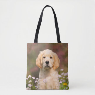 Cute Golden Retriever Dog Puppy Photo - on Shopper Tote Bag
