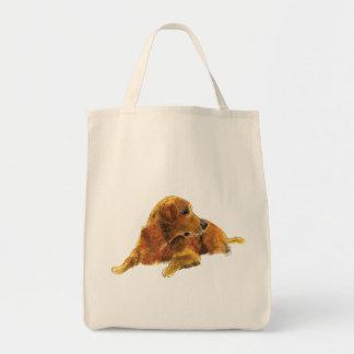 Cute Golden Retriever Dog Watercolour Art Design Tote Bag