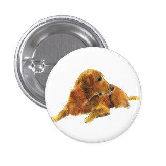 Cute Golden Retriever novelty art badge 1 Inch Round Button