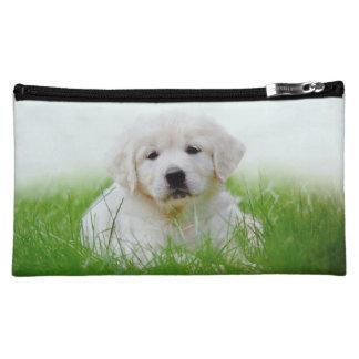 Cute Golden Retriever Puppy Dog Green Grass Cosmetic Bag