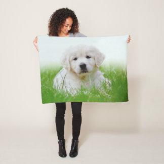Cute Golden Retriever Puppy Dog Green Grass Fleece Blanket