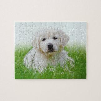 Cute Golden Retriever Puppy Dog Green Grass Jigsaw Puzzle