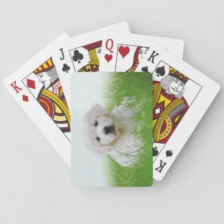 Cute Golden Retriever Puppy Dog Green Grass Playing Cards