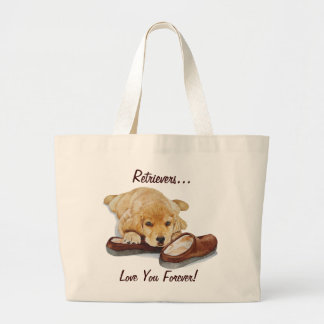 cute golden retriever puppy dog love slogan large tote bag