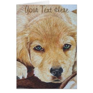 cute golden retriever puppy dog portrait art card