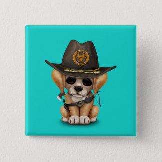Cute Golden Retriever Puppy Zombie Hunter 2 Inch Square Button