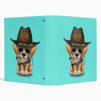 Cute Golden Retriever Puppy Zombie Hunter 3 Ring Binder