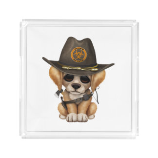 Cute Golden Retriever Puppy Zombie Hunter Acrylic Tray