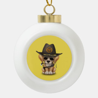 Cute Golden Retriever Puppy Zombie Hunter Ceramic Ball Christmas Ornament