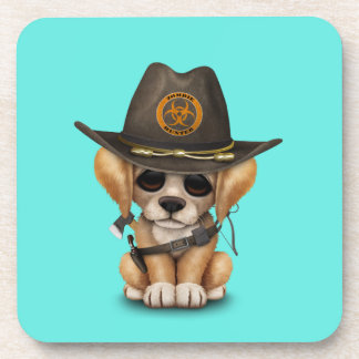 Cute Golden Retriever Puppy Zombie Hunter Coaster