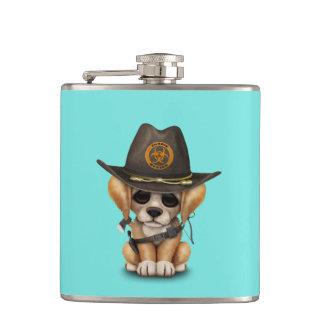 Cute Golden Retriever Puppy Zombie Hunter Hip Flask
