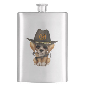 Cute Golden Retriever Puppy Zombie Hunter Hip Flask