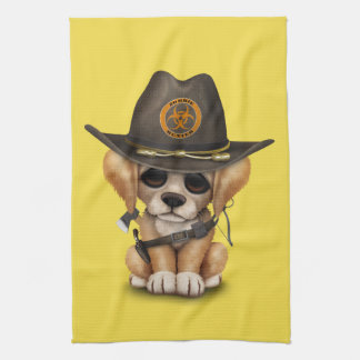Cute Golden Retriever Puppy Zombie Hunter Kitchen Towel