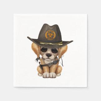 Cute Golden Retriever Puppy Zombie Hunter Paper Napkin