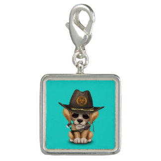 Cute Golden Retriever Puppy Zombie Hunter Photo Charms
