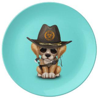 Cute Golden Retriever Puppy Zombie Hunter Plate