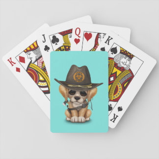 Cute Golden Retriever Puppy Zombie Hunter Playing Cards