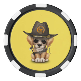 Cute Golden Retriever Puppy Zombie Hunter Poker Chips