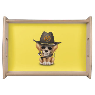 Cute Golden Retriever Puppy Zombie Hunter Serving Tray