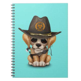 Cute Golden Retriever Puppy Zombie Hunter Spiral Notebook