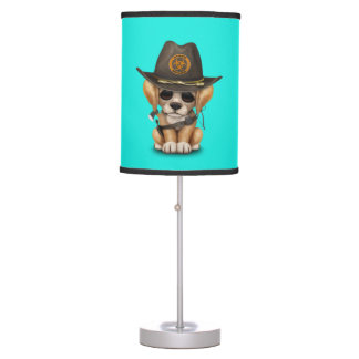 Cute Golden Retriever Puppy Zombie Hunter Table Lamp