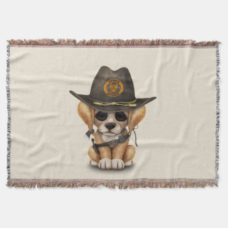 Cute Golden Retriever Puppy Zombie Hunter Throw Blanket