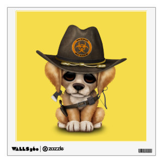Cute Golden Retriever Puppy Zombie Hunter Wall Sticker