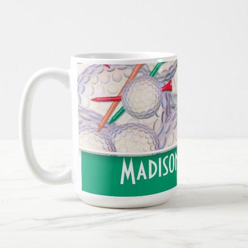 Cute Golf Balls & Tees Pattern Coffee Mug